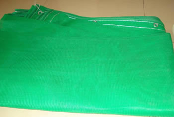 Green fine opening meshes horizontal debris netting with eyelet holes on the edge.