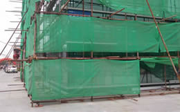 The green fire retardant is installed in the construction site.