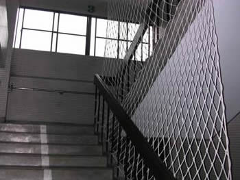 Ordinaire The White Safety Netting Is Installed On The Railing Of The Stair